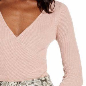 Leith Light Pink Ribbed 3/4 Sleeve Wrap Top